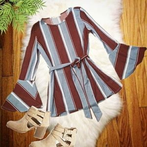 Belted Waffle Knit Top